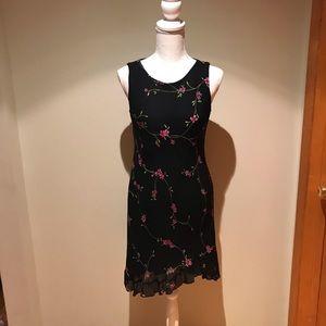 Positive Attitude Black Floral Dress Size 6P